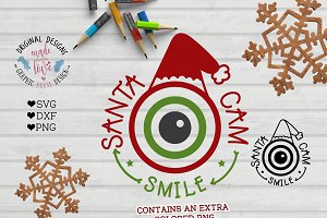 Santa Cam Smile Cut File and Clipart