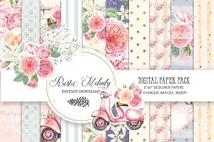 PEACH BLUE DIGITAL PAPER PACK
