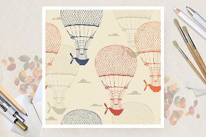 Air balloon seamless pattern