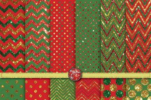 Christmas Glitter Digital Paper Set