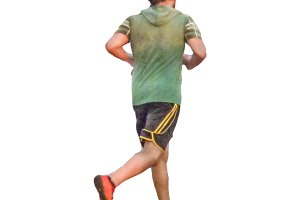 Man Running Backview Isolated Photo