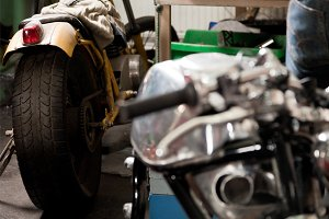 Custom Motorcycle Parts In A Workshop