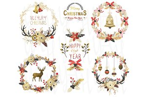 Gold Glitter Christmas Wreath Set
