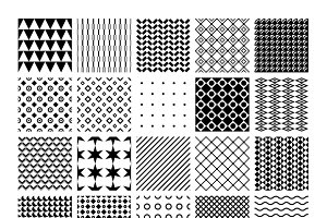 Vector monochrome seamless patterns