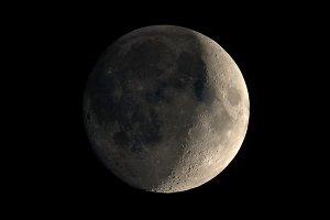 Waxing crescent moon seen with telescope