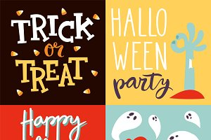 Halloween party celebration cards