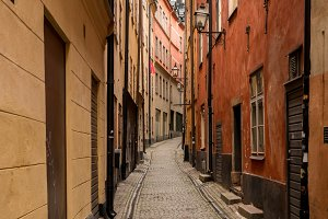 Narrow cobblestone street in Gamla Stan, Stockholm
