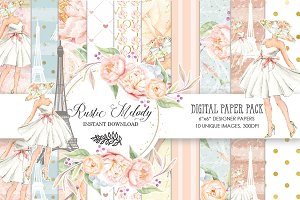 PARIS -FASHION DIGITAL PAPER PACK