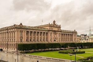 Parliament of Riksdag building in Stockholm