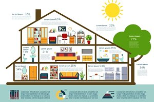 House infographics in flat style