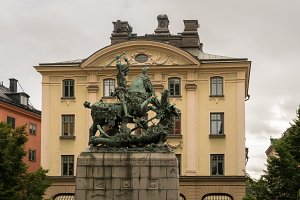 Bronze statue of St George and Dragon in Stockholm