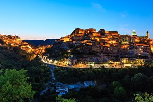 Night Ragusa town view, Sicily