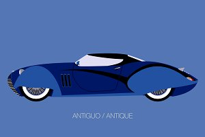 antique car side view vector