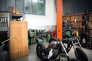 Workshop With Motorcycles