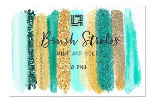 Mint, gold  glitter.  Brush strokes