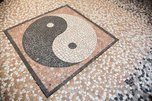 Yin Yang Mosaic On Floor