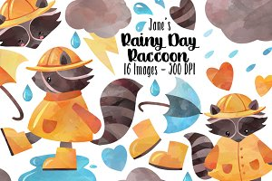Watercolor Rainy Day Clipart