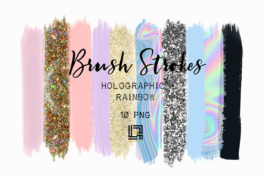 Holographic rainbow. Brush strokes