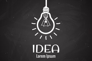 Light bulb idea logo on blackboard