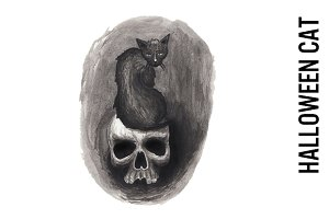 Halloween Cat on a Skull Watercolor