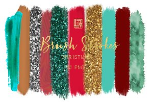 Christmas glitter. Brush strokes