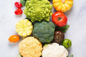 Top view of rainbow vegetables, autumn harvest