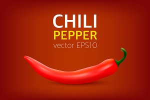 Chili pepper. Vector set.