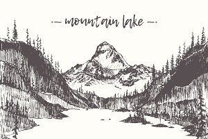 Illustration of a mountain lake