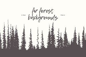 Collection of fir forest backgrounds