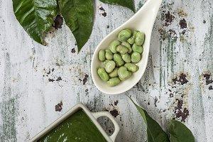 Green vegetable cream soup