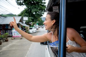 the girl in the taxi tuk-Tuk