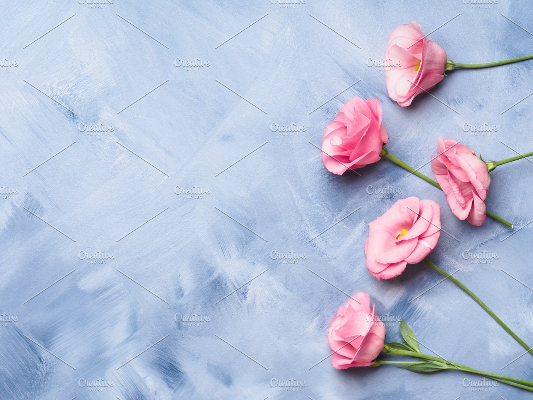 Blue Background With Pink Flowers High Quality Arts