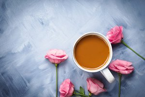 Mugs of coffee and pink flowers card