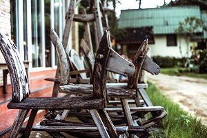 old children's wooden swing horse
