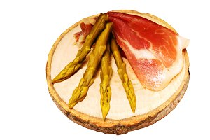 ham and asparagus isolated