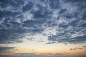 Dramatic dark cloudy sky over sea