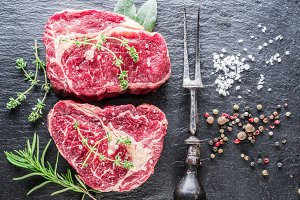 Rib eye steaks with spices