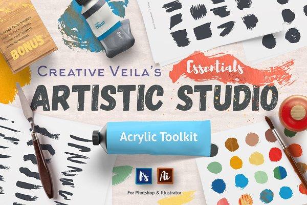 Photoshop Layer Styles: Creative Veila - Artistic Studio: Acrylic Toolkit