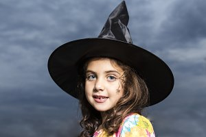 Girl disguised as a witch