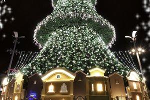 Christmas tree with houses