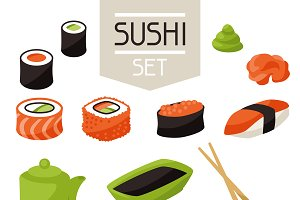 Set of various sushi.
