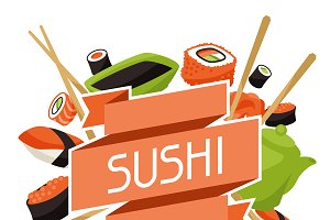 Backgrounds with sushi.