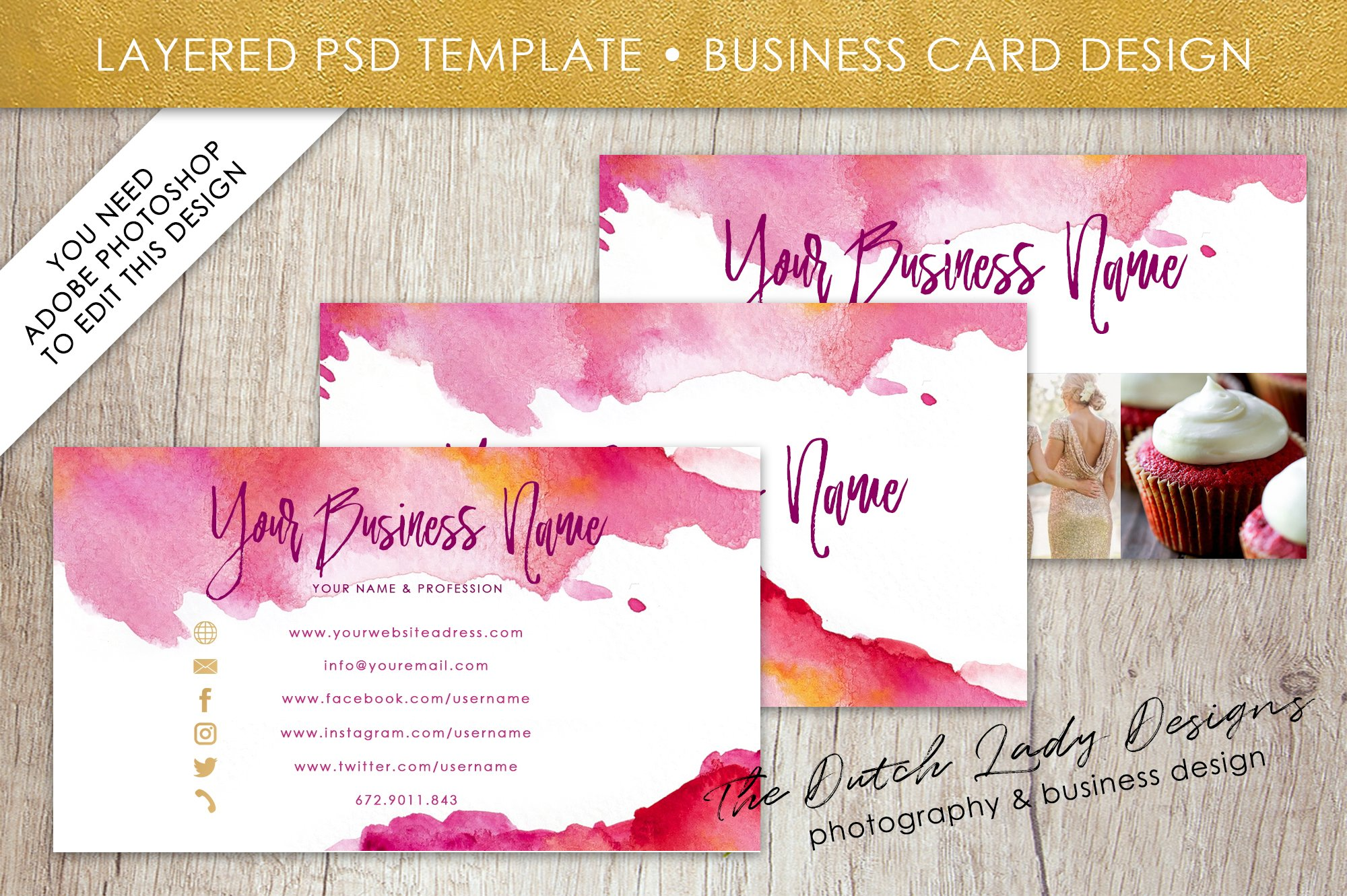 Photo Business Card Template 4 Templates Creative Market