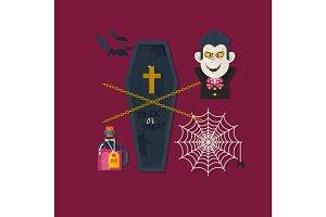 Set of cute vector Halloween elements, objects and icons. Flat vector illustration