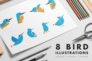 8 Bird illustrations
