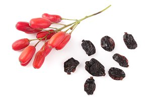 dried and fresh barberry isolated on white background. top view