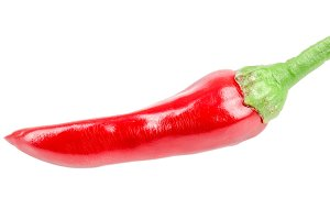 Red chili pepper isolated on a white background no shadow