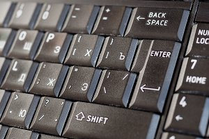 Russian and English keyboard with cyrillic and latin alphabet