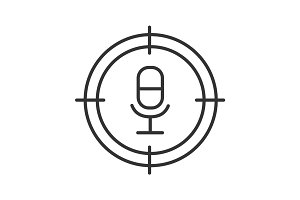 Aim on microphone linear icon
