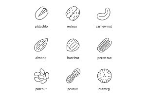 Nuts types linear icons set